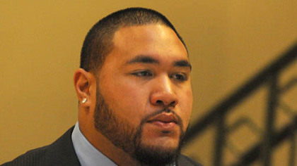 Steeler rookie nose tackle Alameda Ta&#039;amu arrives for his  preliminary hearing.