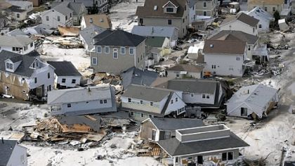 Destroyed homes left in the wake of superstorm Sandy, in Seaside Heights, N.J., Oct. 31.