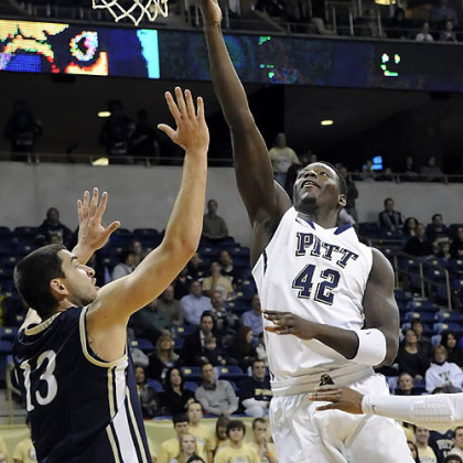 Pitt's Talib Zanna drives to the net against Mount St. Mary's Kristijan Krajina in the first half at the Petersen Events Center Friday night.