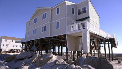 The home of Dave Davis of Bethlehem, Pa., in Holgate on Long Beach Island, NJ, on Friday, November 9, 2012. This was the first time since superstorm Sandy stuck the region that residents could go to their homes in Holgate.