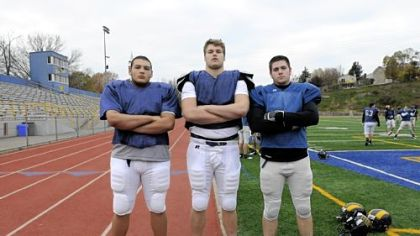 Mt. Lebanon football players Ian Averberg-Johnson (6 feet, 290 pounds), Alex Bookser (6-6, 290) and Matt Hoffman (6-2, 230) represent the typical size of today's high school linemen at the Class AAAA level.