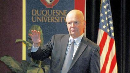 Former CIA director and Duquesne University alumnus Gen. Michael V. Hayden on campus Friday.