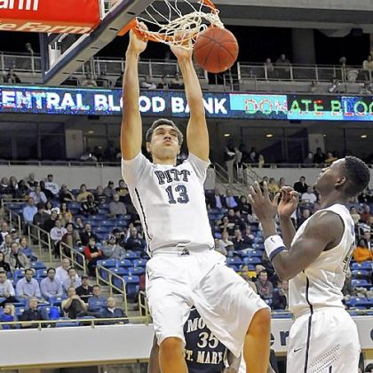 Pitt freshman Steven Adams dunks against Mount St. Mary's in the second half Friday at the Petersen Events Center. Adams finished with 8 points, 8 rebounds and 4 blocked shots.