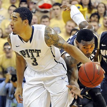 Pitt sophomore Cameron Wright steals the ball from Mount St. Mary's Rashad Whack in the first half Friday at the Petersen Events Center.