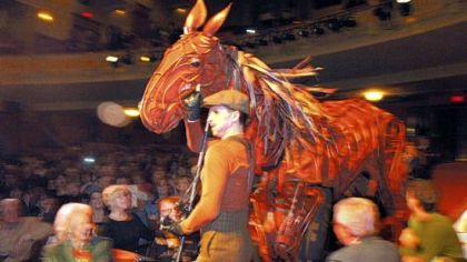 "A ""War Horse"" puppet with Ariel Heller at the head, Ross Green at the heart and Ian Piears in the rear, during the March preview at the Byham Theater for this season's PNC Broadway Across America series."