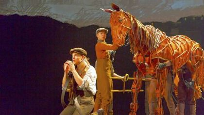 "Andrew Veenstra, Christopher Mai, Derek Stratton and Rob Laquiin in ""War Horse."""