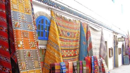 Berber rugs in the medina (in Essaouira, Morocco).