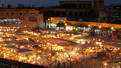 Jemaa el Fna, Marrakesh, at dusk.