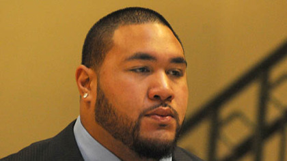 Steeler rookie nose tackle Alameda Ta'amu arrives for his  preliminary hearing on Nov. 8.