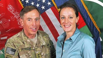 Gen. David Petraeus poses with Paula Broadwell in Afghanistan in July 2011.