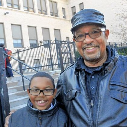 Carl Truss, right, with his grandson Terrell Truss-Moore.