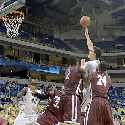 Pitt center Steven Adams attempts a hook shot against Fordham Monday night in a Preseason NIT game at Petersen Events Center.