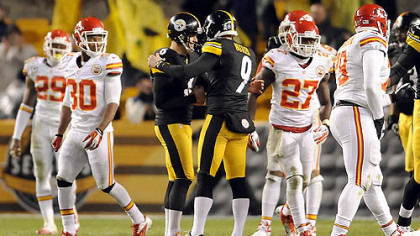 Steelers kicker Shaun Suisham is congratulated by Drew Butler after kicking a field goal to win the game against the Chiefs in overtime Monday night at Heinz Field.