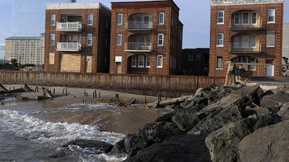 The jetty is all that remains of the northern section of boardwalk, north of Revel casnio, in Atlantic City. However, the main part of the boardwalk along the casino district is intact.
