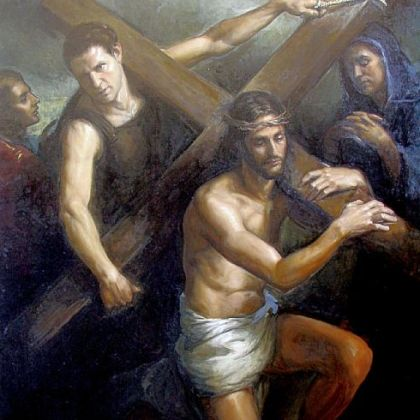 "Matthew James Collins' ""Jesus Carrying the Cross"" earned second prize in the Catholic Arts Competition."