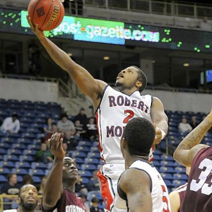 Robert Morris&#039; Velton Jones lays the ball up against Fordham in the second half Tuesday night for two of his 18 points at Petersen Events Center.