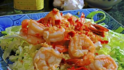 Shrimp with Fried Garlic and Chile