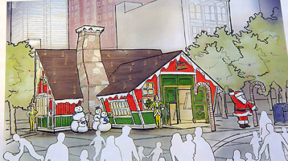 A sketch supplied by Desmone and Associates of Santa's House , which covers 600 square feet.
