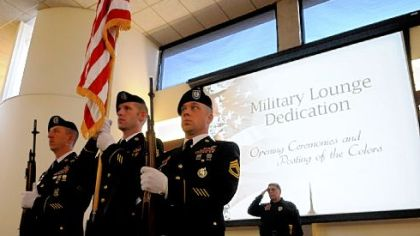 Presenting the colors during a dedication ceremony for the lounge for veterans and active military at Pittsburgh Technical Institute are, from left, Army Sgt. 1st Class Michael Duncan of Collier, Staff Sgt. Robert Taylor of Robinson and Sgt. 1st Class Anthony Shaffer of McCandless.