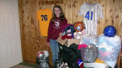 Quigley Catholic High School senior Caitlan Carney is donating soccer equipment to GOALS Haiti.