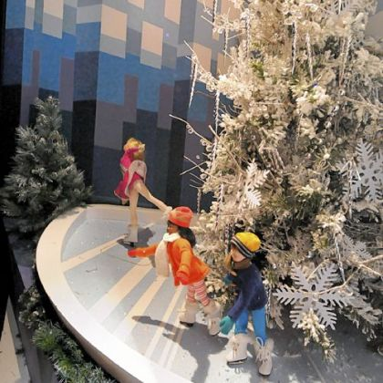 One of the Pittsburgh-themed windows at Macys Downtown depicts the ice skating rink at PPG Place.