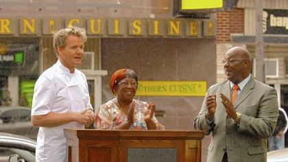 During his time at Miss Jean's, above, Chef Gordon Ramsay went outside to the podium, right, with a teary Jean Gould and Wilkinsburg Mayor John Thompson.