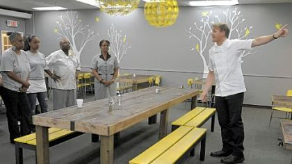 Chef Gordon Ramsay speaks to the staff of Miss Jean's Southern Cuisine in Wilkinsburg during a new episode of 'Kitchen Nightmares.'