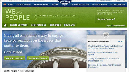 The home page for the White House's We the People.