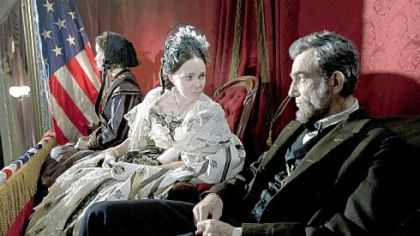 "Gloria Reuben as Elizabeth Keckley, Sally Field as Mary Todd Lincoln and Daniel Day-Lewis as Abraham Lincoln in ""Lincoln."""