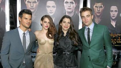 "Starring in ""The Twilight Saga: Breaking Dawn -- Part 2"" are, from left, Kristen Stewart, Mackenzie Foy, Robert Pattinson and Taylor Lautner."