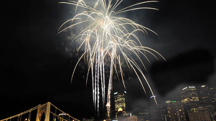 Fireworks shot from the Warhol Bridge at last year's Light Up Night. They'll go off this year at 9:38 p.m. Friday.
