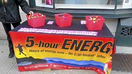 At lunch hour Thursday, free samples of 5-Hour Energy were being handed out to passers-by from this stand on Liberty Avenue, Downtown.