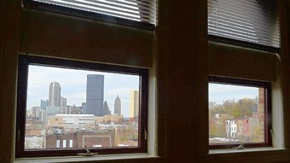 A view of Downtown from Fifth Avenue School Lofts.