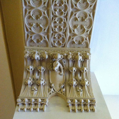 Decorative plasterwork in a doorway at the Fifth Avenue School Lofts.