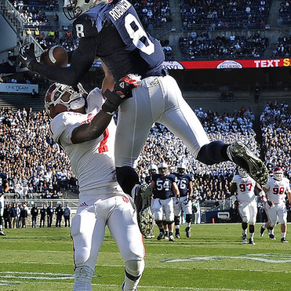 Penn State's Allen Robinson hauls in touchdown pass against Indiana in the first quarter at Beaver Stadium in State College this afternoon.