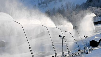 Snowmaking at Seven Springs Mountain Resort, which averages about 130 inches of natural snow per year.