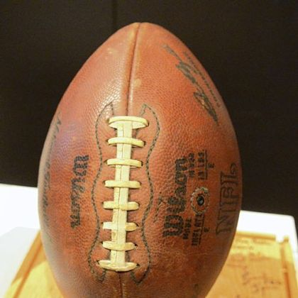 The original Immaculate Reception game ball is displayed at the Heinz History Center.