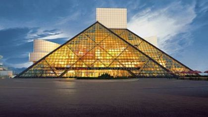 The Rock and Roll Hall of Fame and Museum, with seven stories of memorabilia, is on the shores of Lake Erie.