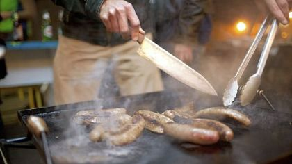 Oyster roasts don't have to be seafood only.  Sweet sausages from Parma make a great addition.