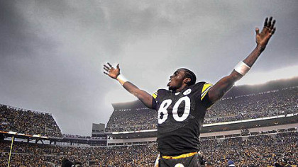 In this 2003 file photo, former Steeler Plaxico Burress celebrates after the team beat Cleveland Browns at Heinz Field.