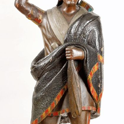 Cigar Store Indian, c. 1860. Painted wood, Gift of Mr. and Mrs. Paul Euwer, Greensburg in memory of Thomas Lynch, is in need of restoration.