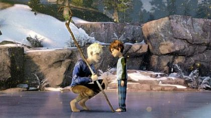 Jack Frost, voiced by Chris Pine, convinces Jamie, voiced by Dakota Goyo, to believe in the Guardians.
