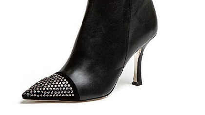 Elizabeth black nappa bootie stud tip by EMY MACK.