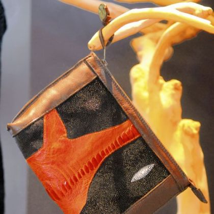 Stingray with ostrich and leather handbag custom-designed  for Studio Booth.