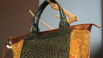 Green Ostrich with fabric and leather bag from Studio Booth.