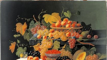 "Severin Roesen's ""Still Life with Fruit,"" circa 1854-55, oil on canvas, a gift of Gulf Oil Corp., a subsidiary of Chevron Corp., is on display at the Carnegie Museum of Art."