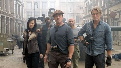 "Yu Nan, left, Terry Crews, Sylvester Stallone, Randy Couture, Dolph Lundgren ramp it up for ""The Expendables 2."""