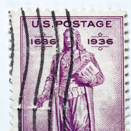 Roger Williams appears on the Rhode Island tercentenary postage stamp.