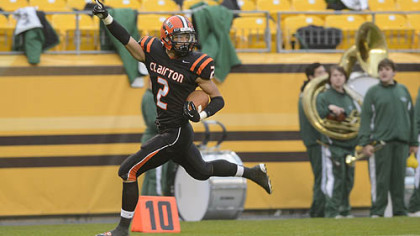 Trenton Coles scores during Clairton&#039;&#039;s 58-21 win against Sto-Rox Friday at Heinz Field.