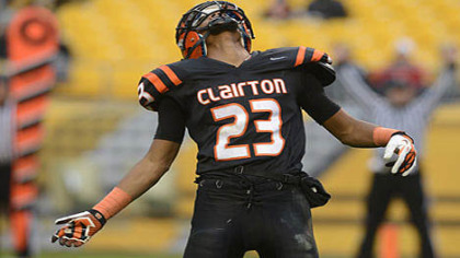 Tyler Boyd celebrates a touchdown during the Bears 58-21 win over Sto-Rox Friday at Heinz Field.